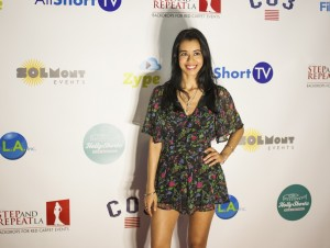 Sutaja Day works the carpet at HollyShorts 2015.